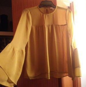 Warehouse mustard bell sleeve blouse